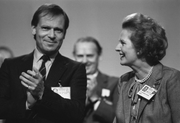 Mrs Thatcher offers a big hand on Mr Archer's entrance